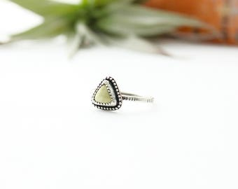 Olive Stone Ring // Stacking Ring // Midi Ring //  Sterling Silver // Dainty // Made to Order