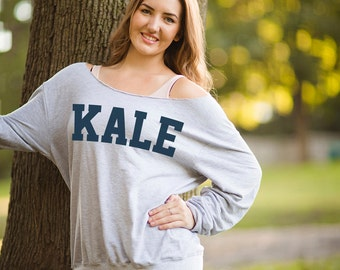Vegetarian Kale Shirt - KALE Slouchy Sweatshirt - ANVIL Raw Edge Off Shoulder French Terry Sweatshirt - Item 1760