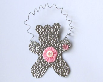 Pink Teddy Bear Ornament - Pink Baby Ornament - Baby Girl - Nursery Decoration - Recycled Ornament - Eco Friendly Ornament