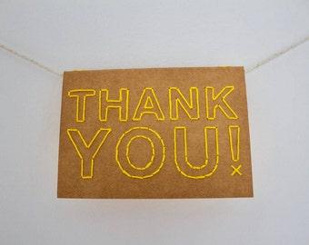 Thank you! | Hand sewn A6 card
