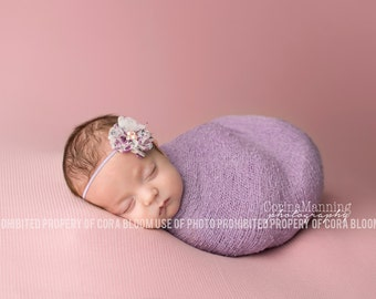 Lavender Knit Baby Wrap, Purple Knit Wrap Set, Baby Knit Wrap, Newborn Prop, Newborn Knit Wrap, Newborn Wrap Set, Photography Prop
