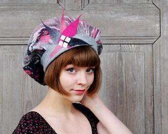 Unique nuno felted hat, elegant French beret, designer felt hat, gray pink woman fashionable hat, large floppy beret , wearable art, OOAK