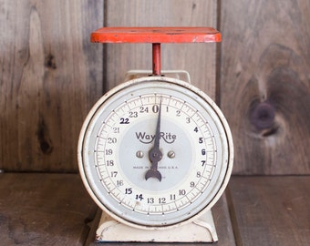 Vintage Wayrite white and Orangish Red scale, rustic scale, primitive scale, kitchen scale, home decor
