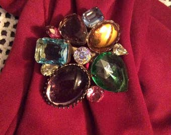 Vintage 1970s 1980s Brooch Pin Sparkly Stones In Purple Light Blue Golden Yellow Pink Clear Green Amber Unsigned Lightweight