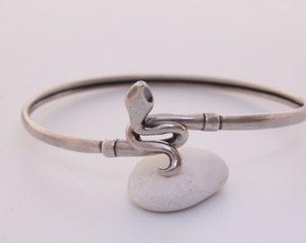 Antique sterling silver snake bypass bracelet cuff / Serpent bracelet / protection amulet / Victorian snake jewelry /snake bangle bracelet
