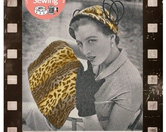1950s Hat and Hand Warmer Vintage Sewing Pattern - PDF Sewing Pattern - PDF Instant Download