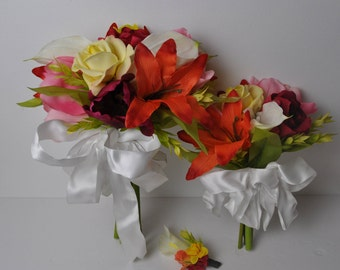 BEAUTIFUL WEDDING BOUQUET set of 3 made of artificial flowers