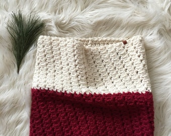 Ready to ship // Chunky Cowl, red infinity scarf, tall knitted scarf, over sized cowl, color blocked scarf, gift for her // The Arrowhead