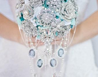 Custom Photo Charm Brooch Bouquet, Teal Bridal Bouquet, Silk Flower Wedding Bouquet, Cascading Bouquet, Teardrop, Keepsake, Memorial, 7 inch