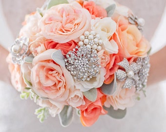 Custom Rose Silk Flower Brooch Bouquet, Coral Blush Real Touch Artificial Bouquet, Bridal Bouquet, Dusty Miller Lamb Ears Faux Bouquet