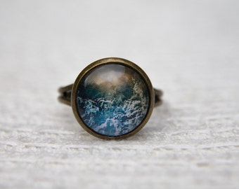 Cloud Ring, Sky Ring, Clouds, Sky, Statement Ring, Adjustable Ring, Glass Dome Ring