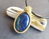 Lapis Lazuli Necklace, Lapis Lazuli Pendant, Handmade Necklace, Wire Wrapped Pendant, Hand Made Jewelry, Blue and Gold, Brass Jewellery