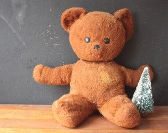 Vintage Rushton Brown Teddy Bear, Vintage Stuffed Plush Bear, Vintage Stuffed Toy