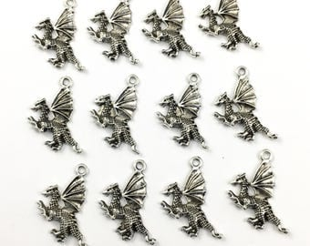 12 dragon charms antique silver,25mm  # CH 339