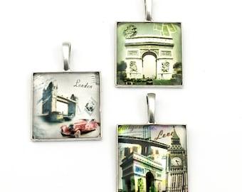 3 glass pendants, London  Paris ,silver tone  26mm x 38mm, #PEN 173