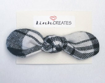 Knot Bow Hair Clip | Black and White Plaid