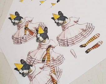 NEW - Dancing Fiona - Articulated Paper Doll, Boston Terrier, Dancing Dog