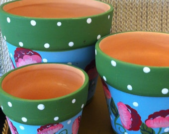 Clay Pots with Hand Painted Designs, Set of 3, Terra Cotta Pots