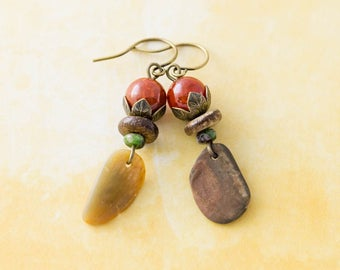 Orange Agate Earrings, Outer Banks Sea Shell Earrings, Rustic Jewelry, North Carolina Jewelry, Antique Brass