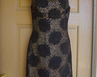 Vintage 1960s Medium large 8 / 9 black and gold wiggle shift dress by Lilli Diamond 60s