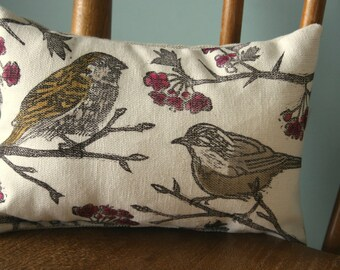 Hand printed, bird print, linen pillow, lino printed linen with dried lavender and chamomile.