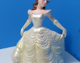 Walt Disney World Ceramic Musical Beauty & The Beast Belle Figurine Musical Box