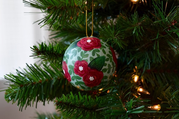 Round Floral Christmas Ornament, Hand-Painted / Mint Green and Dark Red / Christmas Ornament