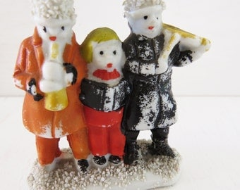 Vintage Bisque Christmas Carolers  Small group of carollers made in japan 2 1/8""