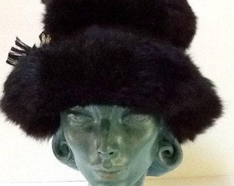 Vintage Black Fur Hat / Roberta Bernayd / Winter Hat / Bucket Hat / Abstract / Mid Century / Retro / Boho / High Fashion