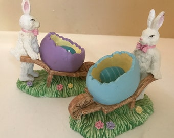 Vintage Dept 56  Adorable Pair of  Bunny Rabbit Figurines pushing a wheel barrow with eggs-Easter Decoration