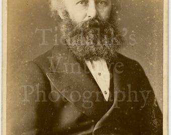 CDV Carte de Visite Photo - Seated Bearded Victorian Gentleman Portrait - Barraud & Jerrard of London England