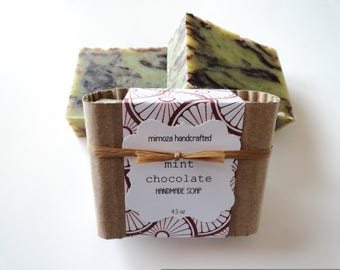 Handmade Chocolate Mint Soap, Cold Process Soap, Vegan Soap 4.5oz