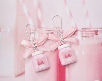 earrings milk bottle strawberry polymer clay