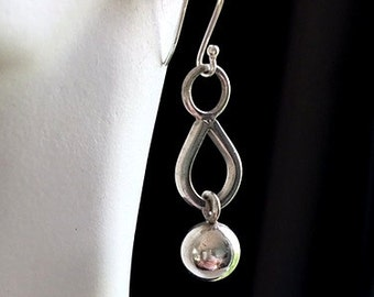 Thick Geometric Sterling Silver Earrings - Vintage Artisan Elongated Hoop and Ball - Wrecking Ball Earrings