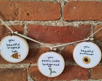 Parks and Rec Leslie Knope Compliments Cross Stitch Wall Hanging Collection (Set of 3)