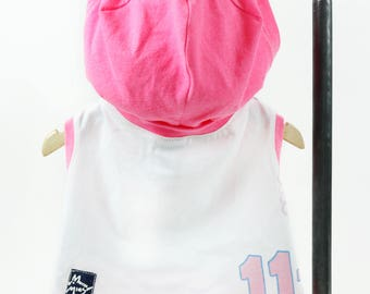 Pink White Small Dog Number 11 T-shirt Hoodie Upcycled Sleeveless Pink Trim Girl or Boy Dog Ready to Ship