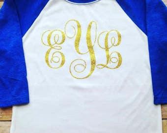 Glitter Monogram Shirt - Girls Monogram shirt - Raglan Monogram shirt - Monogram raglan - Monogram Tee