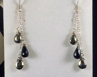 Faceted Pyrite and Black Spinel Earrings