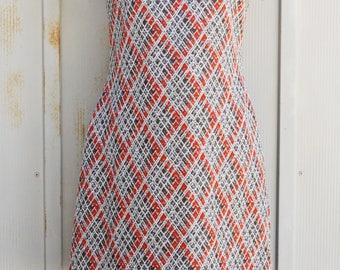 60s Mockneck Dress - Vintage Mod Dress - Turtleneck Scooter Dress - 1960s Mini Dress - Retro Bodycon Dress - Short Sleeve Plaid Dress