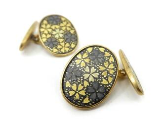 Vintage Japanese Flower Cuff Links, Gold Tone, Black Enamel, Damascene