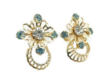 Vintage Blue Rhinestone Earrings, Gold Tone, Filigree, Clear Rhinestone, Screw Backs
