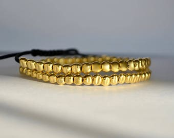 24k Gold Filled Pebbles wrap bracelet, pebble bracelet, double bracelet