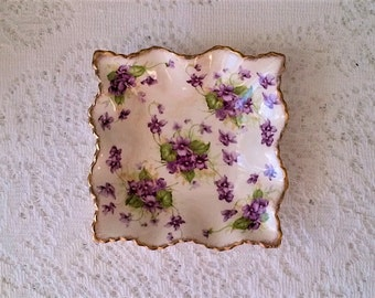 James Kent Ltd Ivory & Purple Violet Floral Small Square Ruffled Dish - Made in England