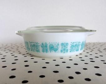 Vintage Pyrex Butterprint 471, Pyrex Butterprint Casserole, Turquoise on White 471, Turquoise Pyrex, Butterprint Pyrex, Small Casserole Dish
