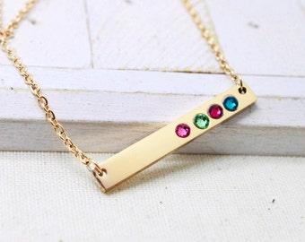 Gold Bar Birthstone Necklace, Custom Bar Necklace, Nana Necklace, Skinny Bar Necklace, Mommy Jewelry, Grandma Necklace, Gift for Mom