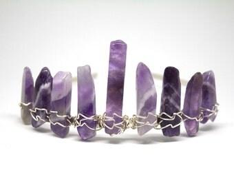 Amethyst Crown/ Bridal Tiara / Crystal Wirewrap / Silver Fairy Crown / Polished Amethyst / Bohemian Wedding / Burning Man /Raw Crystal Crown