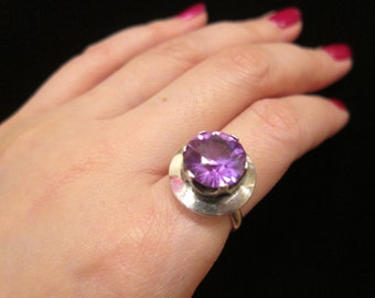 Vintage Mexican Sterling Silver Purple Alexandrite Ring Size 6 - 925 Mexico Jewelry Ring Synthetic Gemstone