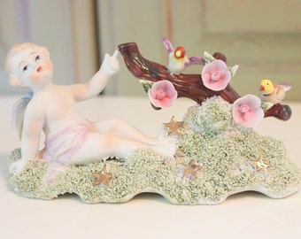 Vintage Lefton Angel Hand Painted Bisque Figurine Cherub Cherry Blossoms Gold Stars Birds Spaghetti Detail  Vintage Cupid Porcelain No. 827