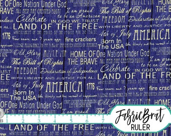 AMERICANA WORDS Fabric by the Yard Fat Quarter American Words of Freedom Blue Barn Wood Fabric 100% Cotton Fabric Quilt Fabric Yardage t2-37