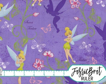 TINKERBELL Fabric by the Yard, Fat Quarter DISNEY FAIRY Fabric Purple Fabric Quilting Fabric Apparel Fabric 100% Cotton Fabric Yardage t6-14
